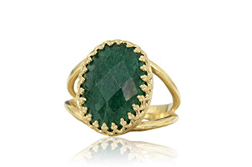 Anemone Jewelry Artisan Gemstone Rings - Exquisite Agate Emerald in 14k Gold-filled Double Band - Ring Jewelry for Anniversaries, Casual Wear, Formal Events - 14k Jewelry for Gifts [Free Fancy Box]