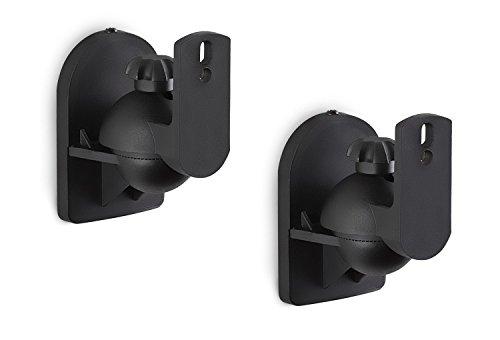 (Mount-It! Speaker Wall Mount Full Motion Brackets for Surround Sound Satellite Ceiling and Bookshelf Speakers, 2 Mounts, Black)