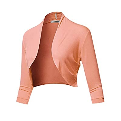 SSOULM Women's 3/4 Sleeve Open Front Bolero Shrug Cardigan with Plus Size at Women's Clothing store