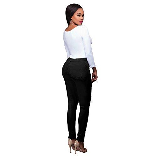 Jeans Skinny Denim Nero Sentao Casuale Pantaloni Donna Distressed qTtHT1