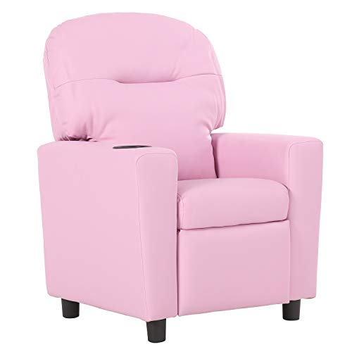 Baby Child Cup - LCH Kids Recliner Sofa Chair with Cupholder, Baby Child Recliner with PU Leather and Anti-Sandwiched Protective cover, Plush Padding for Extra Comfort, Reclining Chair for boys and girls - Light Pink