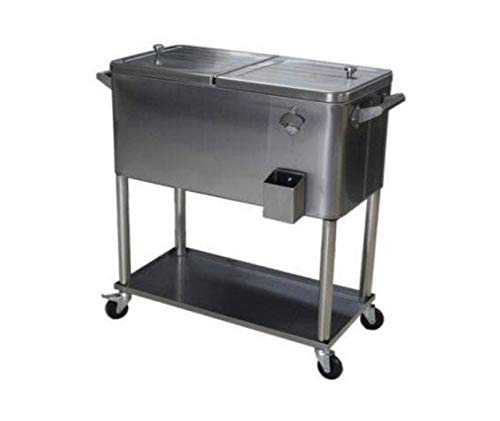 Permasteel PS-206-SS-AM 80 Quart Portable Rolling Patio Cooler, Stainless Steel (With Steel 80qt Cart Cooler Patio)