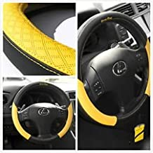 Circle Cool 58012 Black + Yellow Leather Steering Wheel Cover
