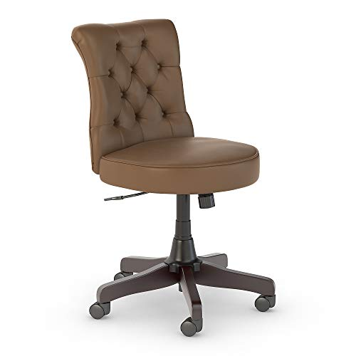 kathy ireland Home by Bush Furniture Ironworks Mid Back Tufted Office Chair in Saddle Tan Leather