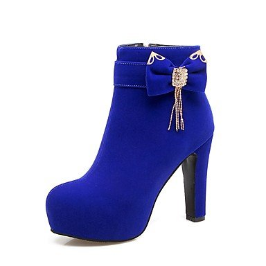 For Red Women's Heel 4U red Zipper Best Career Flocking Fall amp; Chunky Round Winter Office Rhinestone Shoes Toe Boots Outdoor Bowknot Blue Comfort 1Zxd5wx