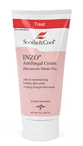 Medline Soothe & Cool INZO Antifungal Cream, Zinc Oxide, 5 oz (2 Pack) (Best Over The Counter Athlete's Foot Medication)