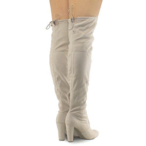 Premier Standard Damen Overknee Stiefel - Sexy Overknee Pullon Stiefel - Trendy Low Block Fersenschuh - Bequeme Easy Heel Boot Natürliche Su