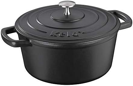 schwarz Gusstopf BBQ-Toro Gusseisen Topf 3,0 Liter + 4,0 Liter Br/äter mit Deckel Set