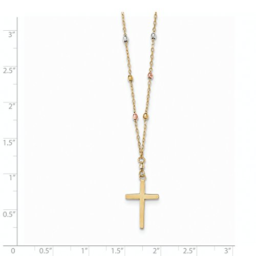 ICE CARATS 14k Tri Colored Gold Beaded Cross Religious Chain Necklace Crucifix Fine Jewelry Gift Set For Women Heart by ICE CARATS (Image #3)