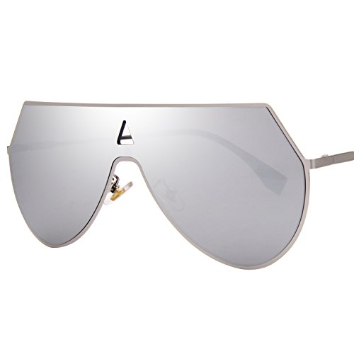 LIANSAN Mirrored Flat Lenses Fashion Metal Frame Women Sunglasses LS7009 Silver/Silver