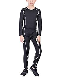 Boys Hockey Base Layer Moisture Wicking Quick Dry Underwear Crew Neck Thermal Shirt Leggings 2 Pcs