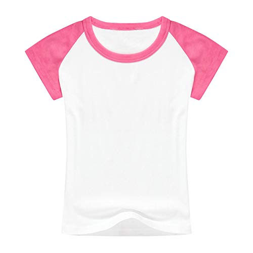 (Unisex Kids Raglan Shirts Boys Girls Baseball Short Sleeve T-Shirt Toddler Baby Cotton Tee Tops Little Big Sister Brother Family Matching Crew Neck T Shirt Birthday Casual School Clothes Hot Pink 7-8)