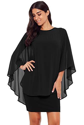 - Shopall Women's Fashion Slinky Sexy Sheer Gauze Cape Round Neck Bodycon Mini Dress Black Plus Size