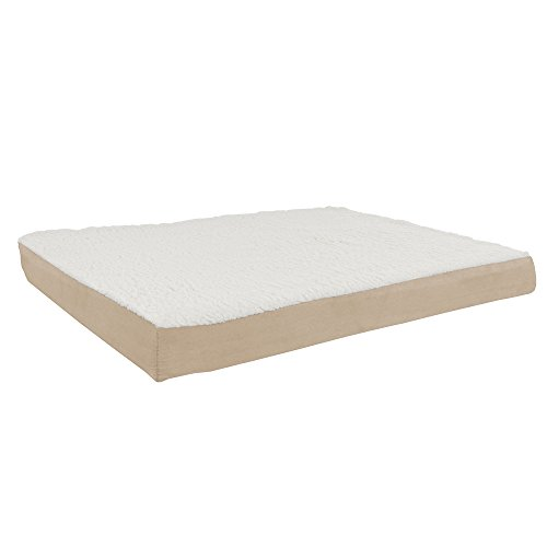 Orthopedic Sherpa Top Pet Bed with Memory Foam and Removable Cover 36x27x4 Tan by PETMAKER (Memory Dog Bed Cover Foam)