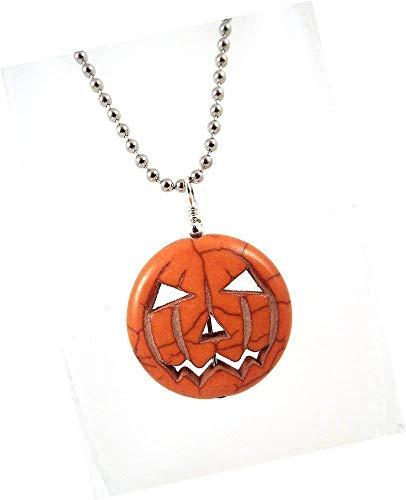 Jack O Lantern Pumpkin Gemstone Pendant Necklace on Silver Toned Ball Chain Halloween Jewelry