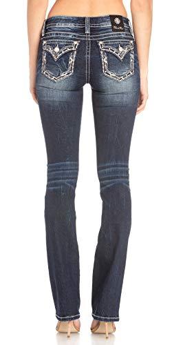 Miss Me Border Trim Chloe Slim Boot Jeans in Dark Blue Dark Blue 30