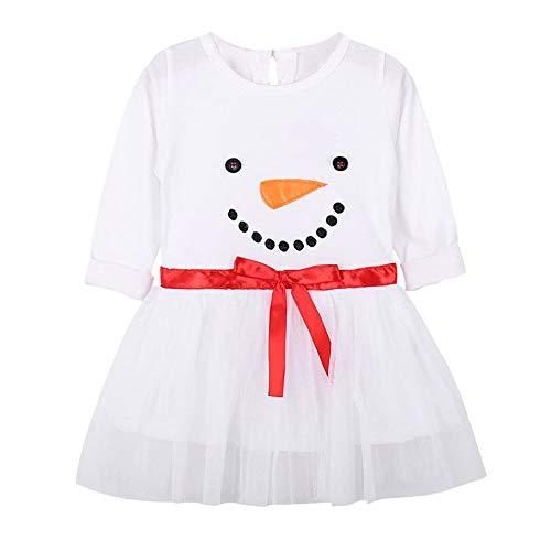 Toddler Baby Girl Dress,Christmas Snowman Print Pullover Flared A Line Dresses, Kids Winter Long Sleeves Dress -