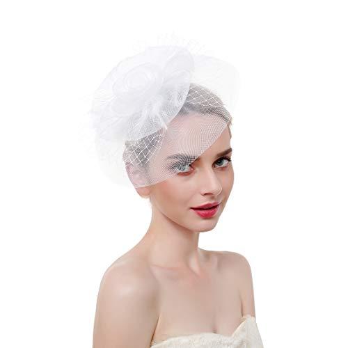 (Vintage Mesh Hair Clip Fascinators Top Hat for Women Tea Party Wedding Headwear Cocktail Kentucky Derby Headband White)