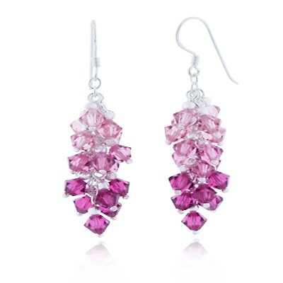 925 Sterling Silver Pink Faceted Crystal Beads Dangle Hook - Earrings Faceted Crystal