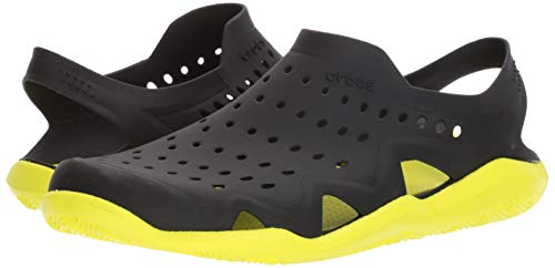 crocs Men's Swiftwater Wave M Flat,black/tennis ball green,4 M US by Crocs (Image #6)