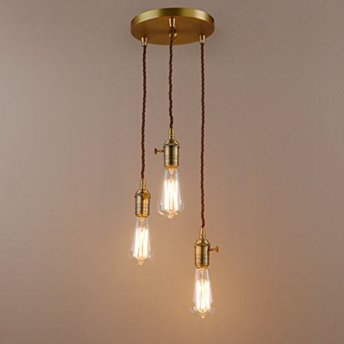 Pathson Industrial Factory Mini Pendant with 3 Headin Retro Design Vintage Simple Home Ceiling Light Fixture Flush Mount with Adjustable Textile Cord Pendant Cluster Light (Bulbs Not Included) - Place 3 Light Pendant