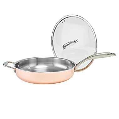 Old Dutch International Copper Tri-Ply Professional Covered Deep Skillet, 12-Inch, Copper