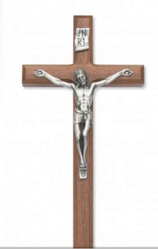 10 Inch Beveled Walnut Crucifix with Silver Corpus Gift BOX Included Made in the USA Gift Boxed