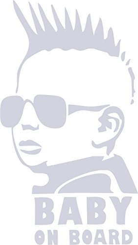 (BABY ON BOARD DECAL WITH COOL BABY WITH SUNGLASSES AND SPIKED HAIR REFLECTIVE CAR / TRUCK / DECAL STICKER WITH ALCOHOL PAD ~ Size 3.25