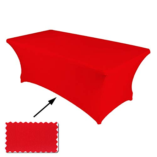 ABCCANOPY 30+ Colors Spandex Table Cover 6 ft. Fitted Polyester Tablecloth Stretch Spandex Tablecover-Table Toppers(Red) -