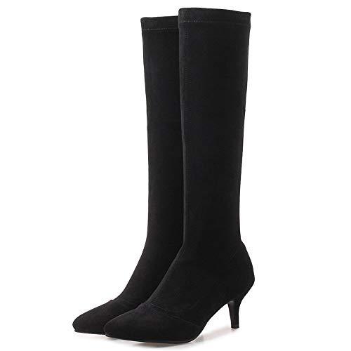 Femmes Noir Coolcept Stretch Mode Boots Pointu Bout OwwqYSd