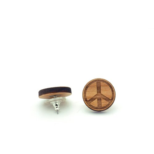 Wooden Peace Sign (Peace Sign Wooden Earrings SwaggWood Made in USA)