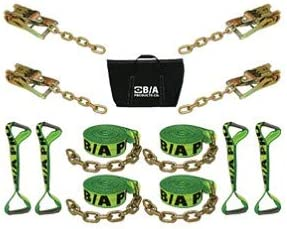 Flat Bed Carrier Car Hauler BA Products HV38-218C Neon Green High Visibility 8 Point Tie Down System with 18 Long Straps and Chains on Ratchets /& Straps for Rollback