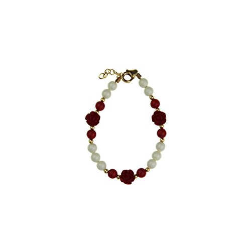 - Crystal Dream Elegant Red Scattered Flowers with Red & White Swarovski Simulated Pearls 14Kt Gold-Filled Child Bracelet (BSFWR_L)