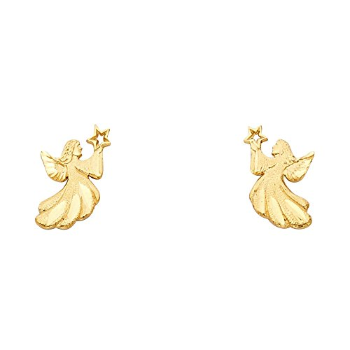 Gold Earrings Angel (14k Yellow Gold Fancy Angel Stud Earrings (7 x 13 mm))