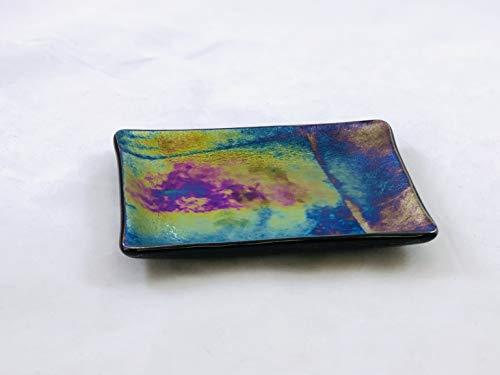 (Soap Dish Iridescent Metallic Fused Glass 5.5