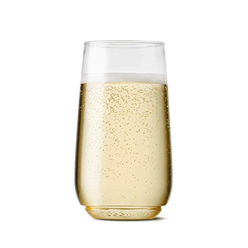 TOSSWARE 6oz Flute Jr – recyclable champagne plastic cup – SET OF 48 – stemless, shatterproof and BPA-free flute glasses Renewed