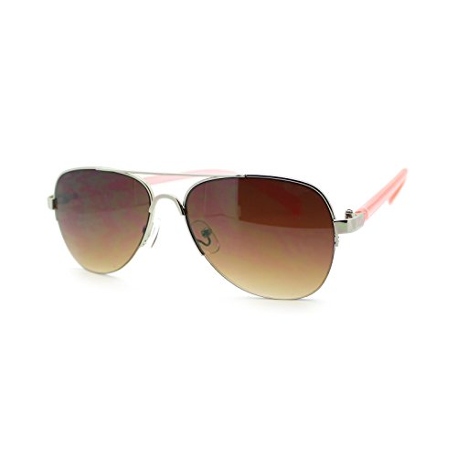 Women's Small Size Aviator Sunglasses Petite Half Rim Aviators Peach