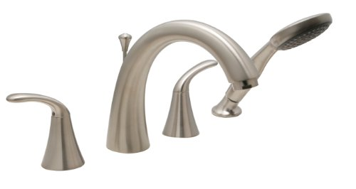 Huntington Brass 14740-72 8-Inch - 16-Inch Builders 2-Handle Deck-Mount Roman Tub Faucet with Hand Shower, Satin Nickel