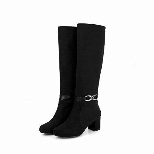 Charme Voet Dames Mode Winter Dikke Hakken Knielengrijs Zwart