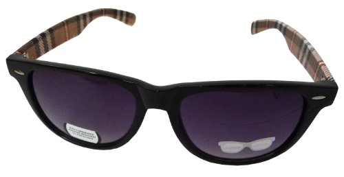 Classic Wayfarer Style Designer Inspired Glasses Plaid Print with UV Protection - Black Frame w/ Brown - Bans Ray Summer
