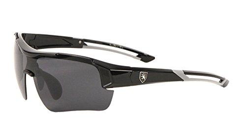 Khan Semi Rimless Wrap Around Sunglasses (Black & Grey Frame, Black Super Dark)