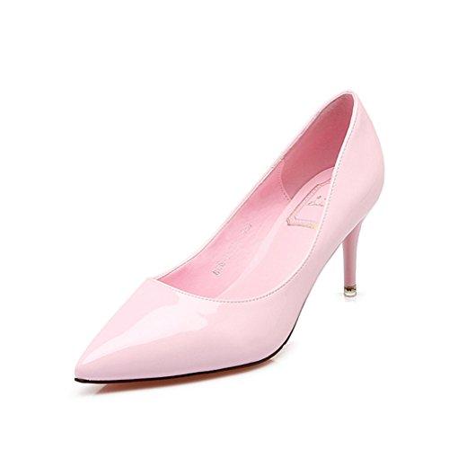Vernis Inconnu Stiletto Cheville Chaussures Antidérapant Bonbons Aiguille Pu Chaussure Talon On Femmes Bout Léger Soiree Slip Escarpins Pure Rose Couleur Pompes Ol r8fxqrtUw