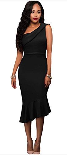 Cocktail Blansdi Shoulder Women Black Asymmetric Sleeveless Midi Bodycon One Dress Party Mermaid w0qH6U