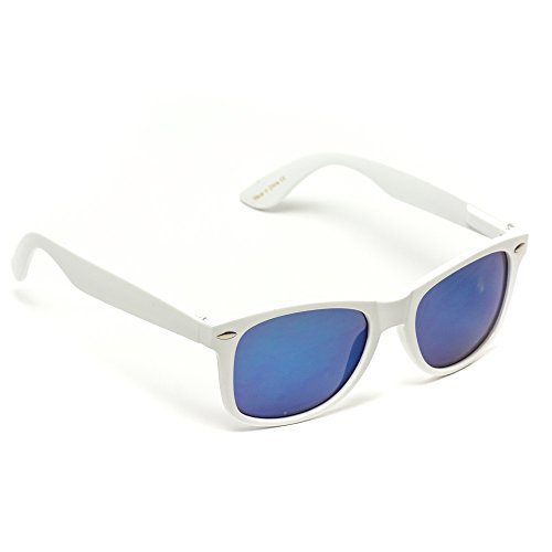WearMe Pro - Mirror Lens Horn Rimmed Style Retro Sunglasses Glossy White Frame/ Mirror Blue Lens