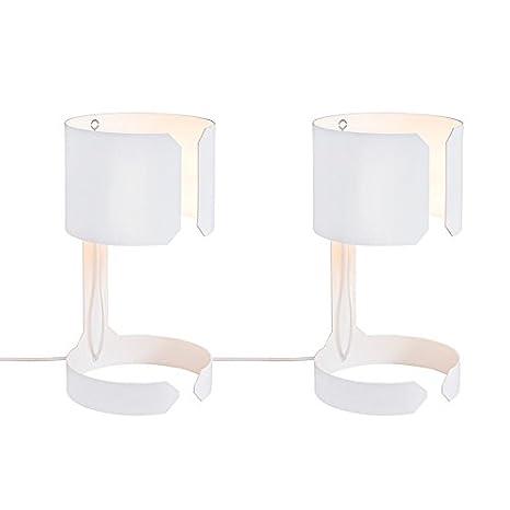QAZQA Diseño Set de 2 lámparas de mesa WALTZ blancas ...