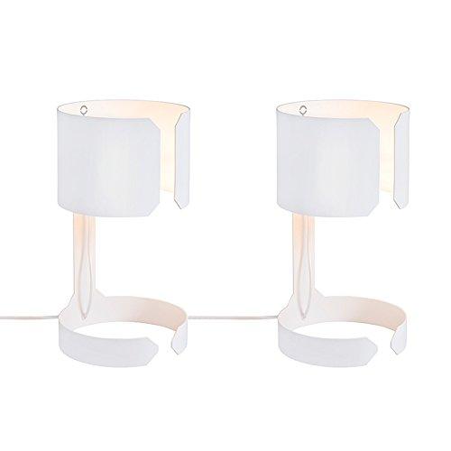 QAZQA Design 2er Set Schreibtischleuchte Tischleuchte Büroleuchte Tischlampe Lampe Leuchte Waltz weiß Innenbeleuchtung Wohnzimmerlampe Schlafzimmer Metall Rund LED geeignet E27 Max. 2