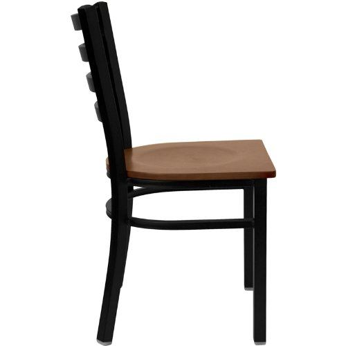 HERCULES Series Black Ladder Back Metal Restaurant Chair – Cherry Wood Seat XU-DG694BLAD-CHYW-GG