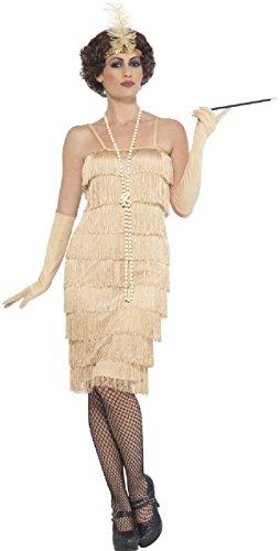 Ladies 1920s 1930s Gold Fringed Flapper Charleston Vintage Fancy Dress Costume Outfit UK 8-26 Plus Size (UK -