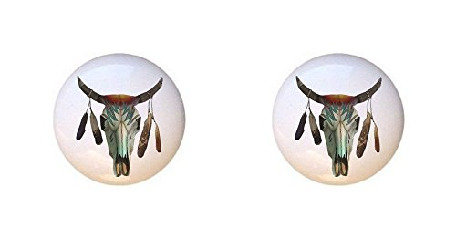 SET OF 2 KNOBS - Cow Skull - Southwest Southwestern - DECORATIVE Glossy CERAMIC Cupboard Cabinet PULLS Dresser Drawer KNOBS -