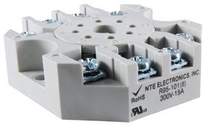 - NTE Electronics R95-101 8 Pin Octal Socket with Pressure Clamp Screw, 300V, 15 Amp